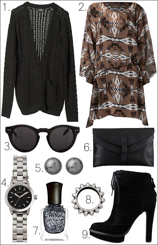 0bdcb79618 OUTFIT COLLAGE DOLCE VITA HALEIGH DRESS CHEAP MONDAY CARDIGAN HOUSE OF  HARLOW SUNGLASSES TOM INNS SPIKE RING ELIZABETH AND JAMES BOOTS CLUB .