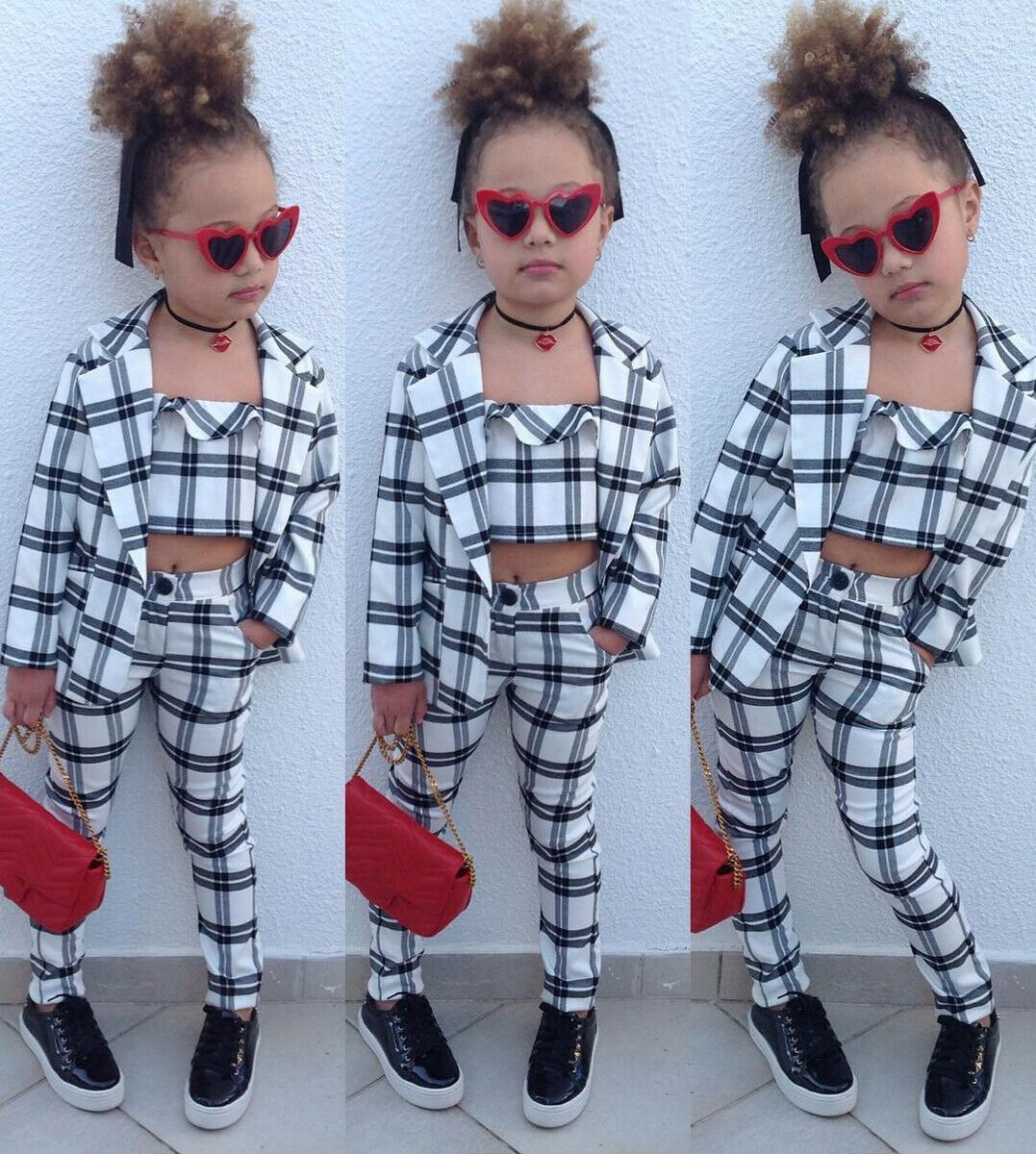 Fashion Kids Baby Girls Winter Clothes Plaid Coat Tops+Undercoat+Long Pants Set