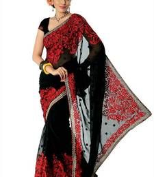 Black faux georgette saree with unstitched blouse
