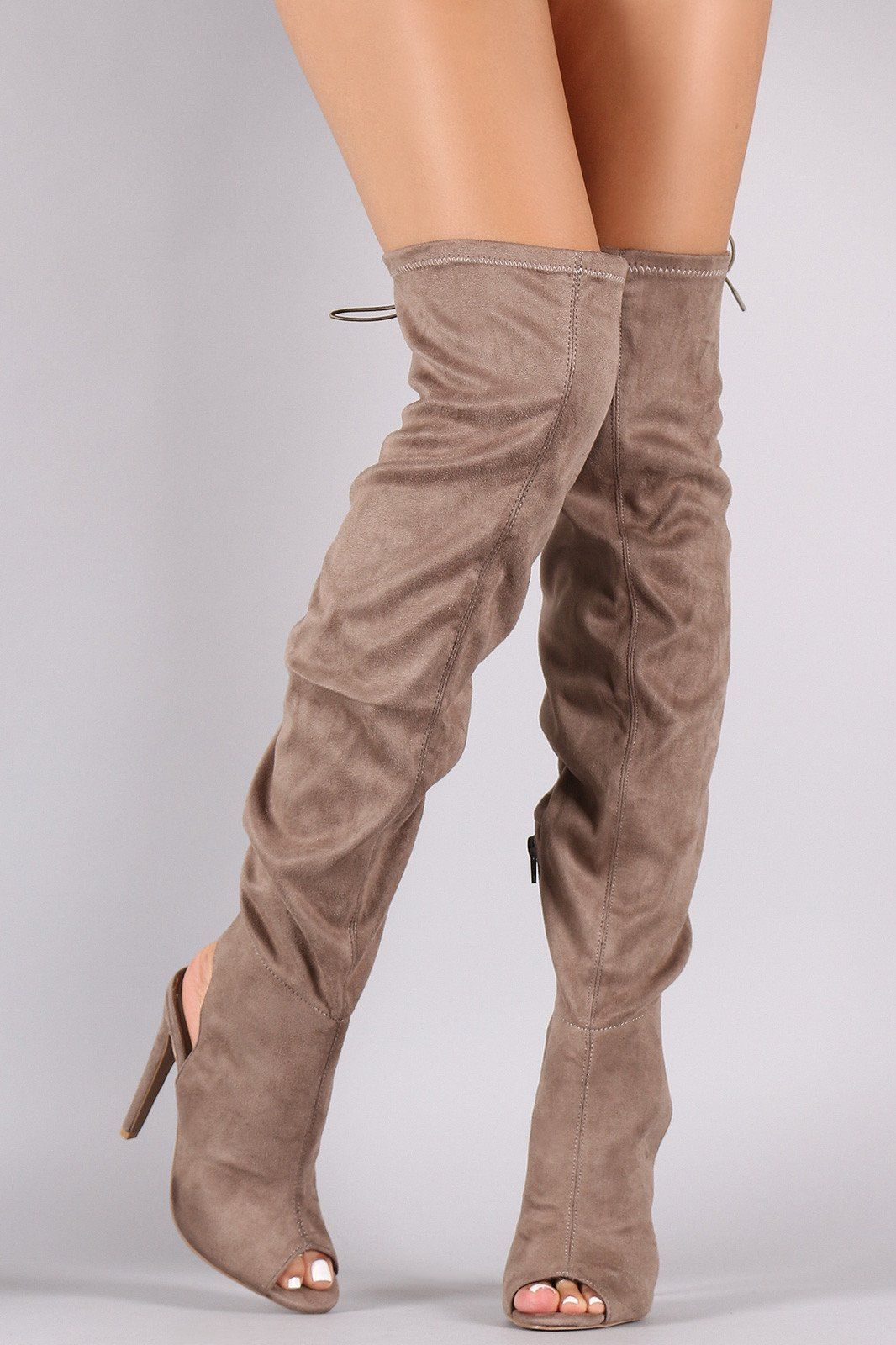 e45c766c531a Qupid Tan Suede Peep Toe Over the Knee OTK Boots | sexy boots ...