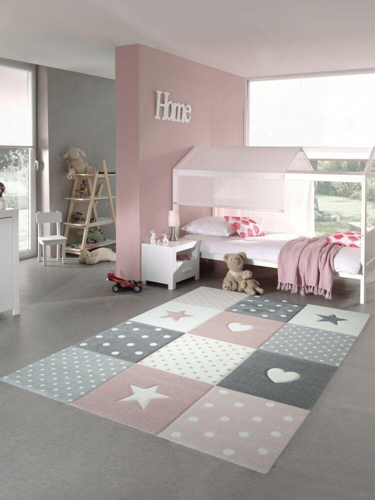 Children Rug Play Carpet Baby Rug Girl With Heart Star Pink Cream Gray Ebay Kids Bedroom Flooring Girls Bedroom Rug Baby Rugs