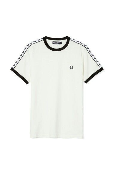 Fred Perry - White Sports Authentic Taped Ringer T-Shirt