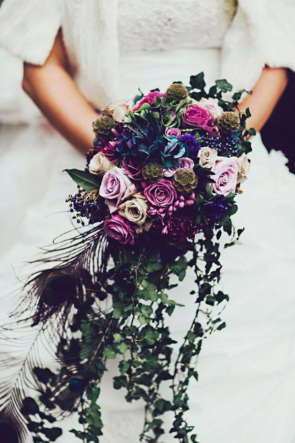 55 Eye Catching Feather Wedding Ideas For 2016 Peacock FlowersPurple