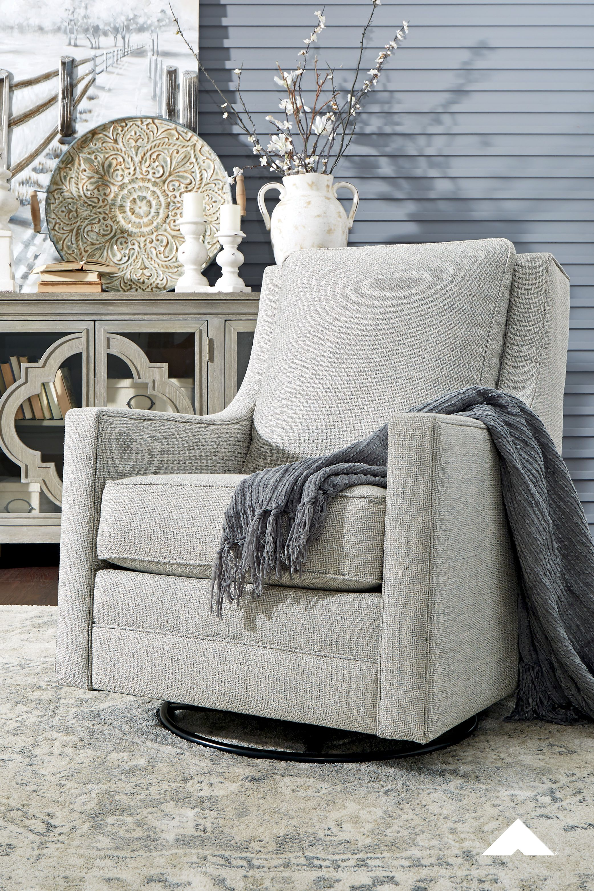 Kambria Frost Swivel Glider Accent Chair By Ashley Furniture Crisp And Cool But Not Without Its In 2020 Ashley Furniture Ashley Furniture Industries Furniture Design