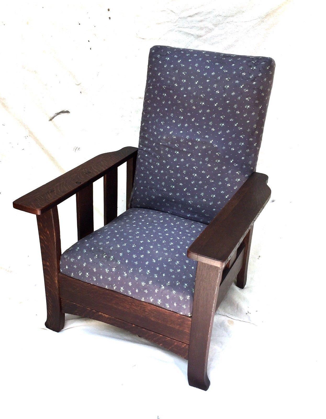 Antique Morris Push Button Recliner Royal Chair Co Mission Oak Arts U0026  Crafts | EBay