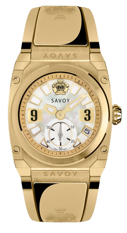 SAVOY WATCHES  SWISS MADE IP GOLD PLATING 35MM STAINLESS STEEL CASE