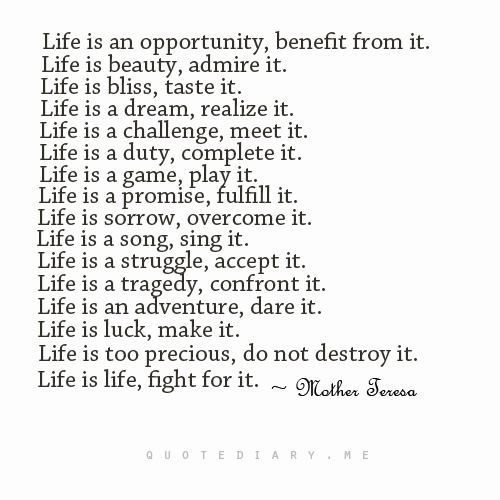 Mother Teresa Poems About Life Think Happy Thoughts