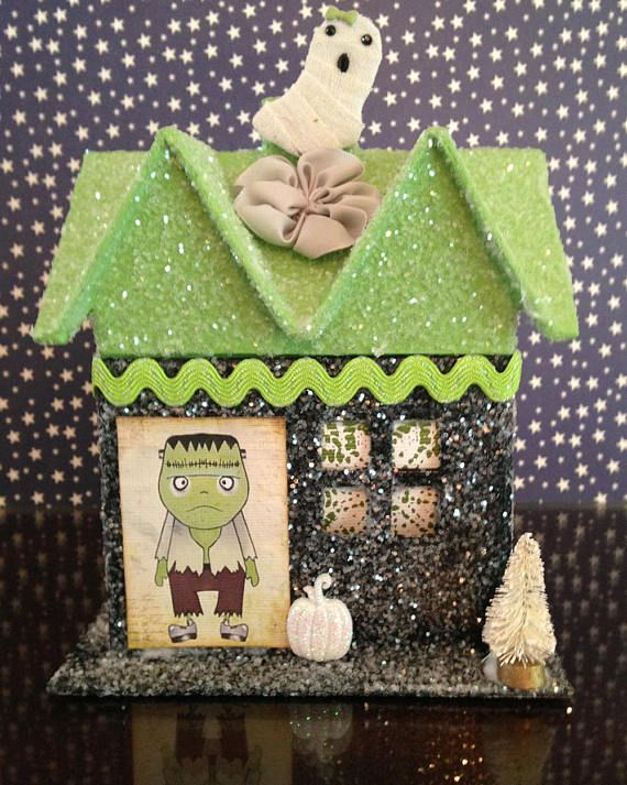 Frankenstein, Halloween House, Haunted House, Glitter House, Putz - decorate house for halloween