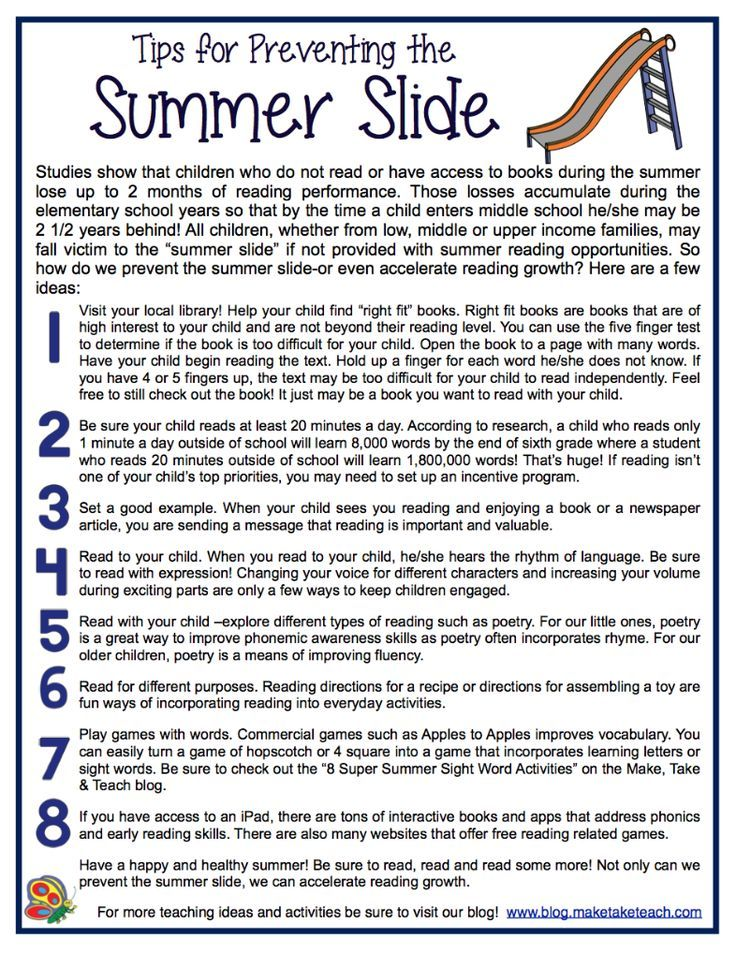 8 ideas for preventing the summer slide.  Free downloadable handout. Great for…