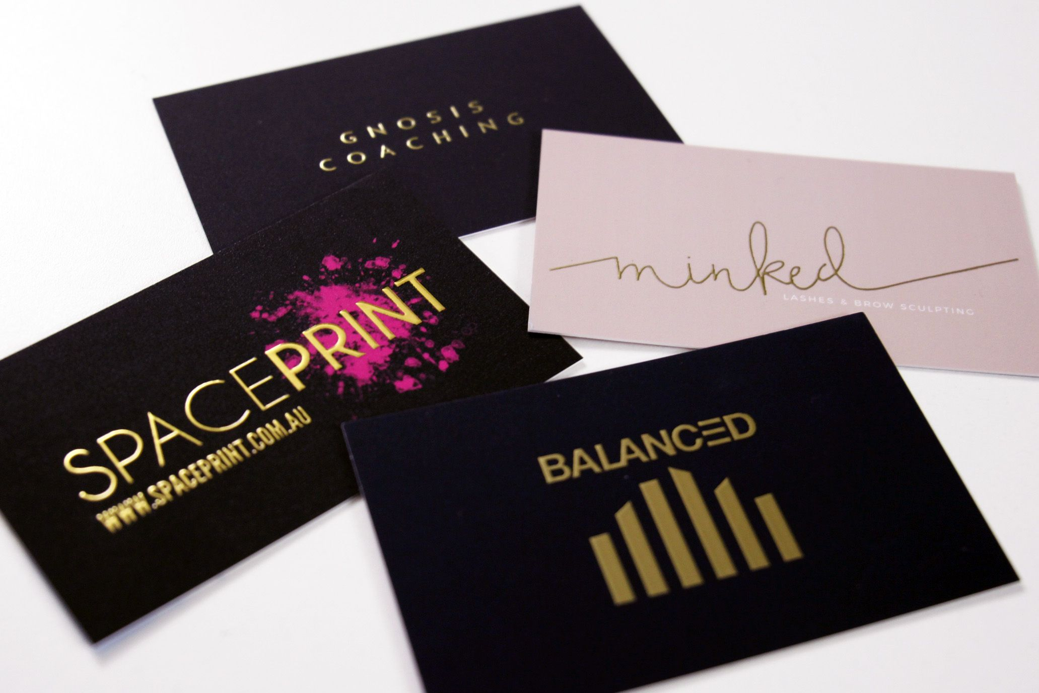 Raised gold business cards printed on heavy 450GSM velvet stock ...