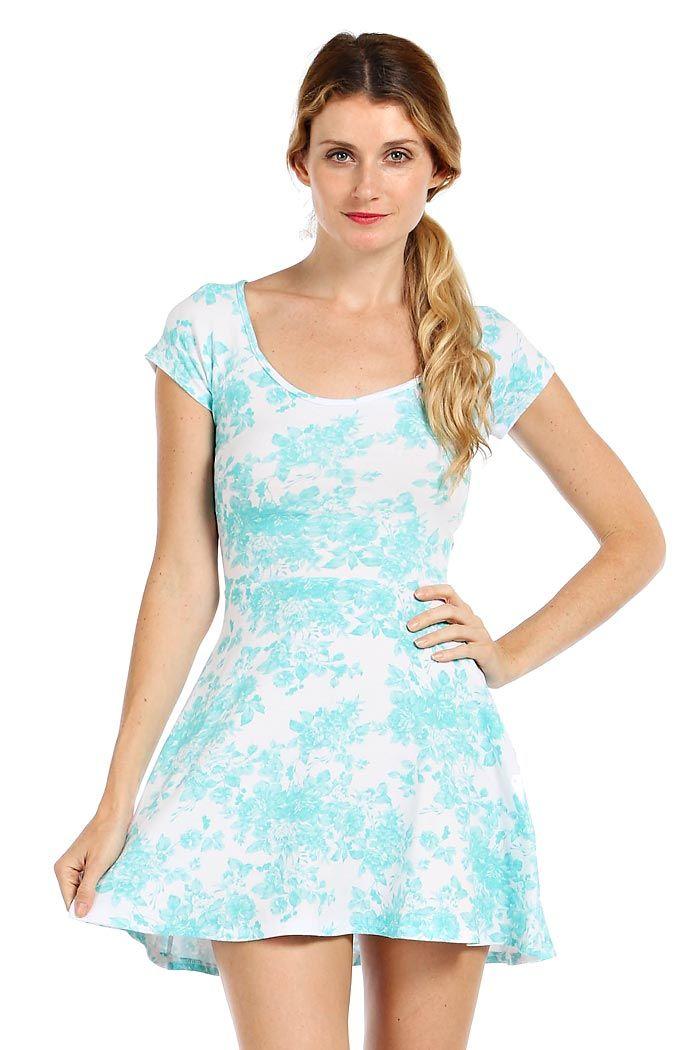 ROSETTE PRINT CUTOUT BACK DRESS- Mint