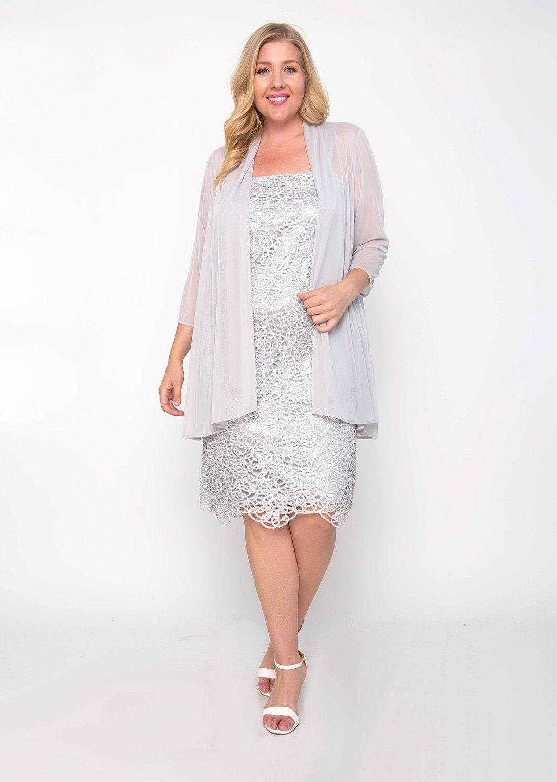 b9297cc24442 R&M Richards Plus Size Silver Lace Jacket Formal Dress in 2019 ...