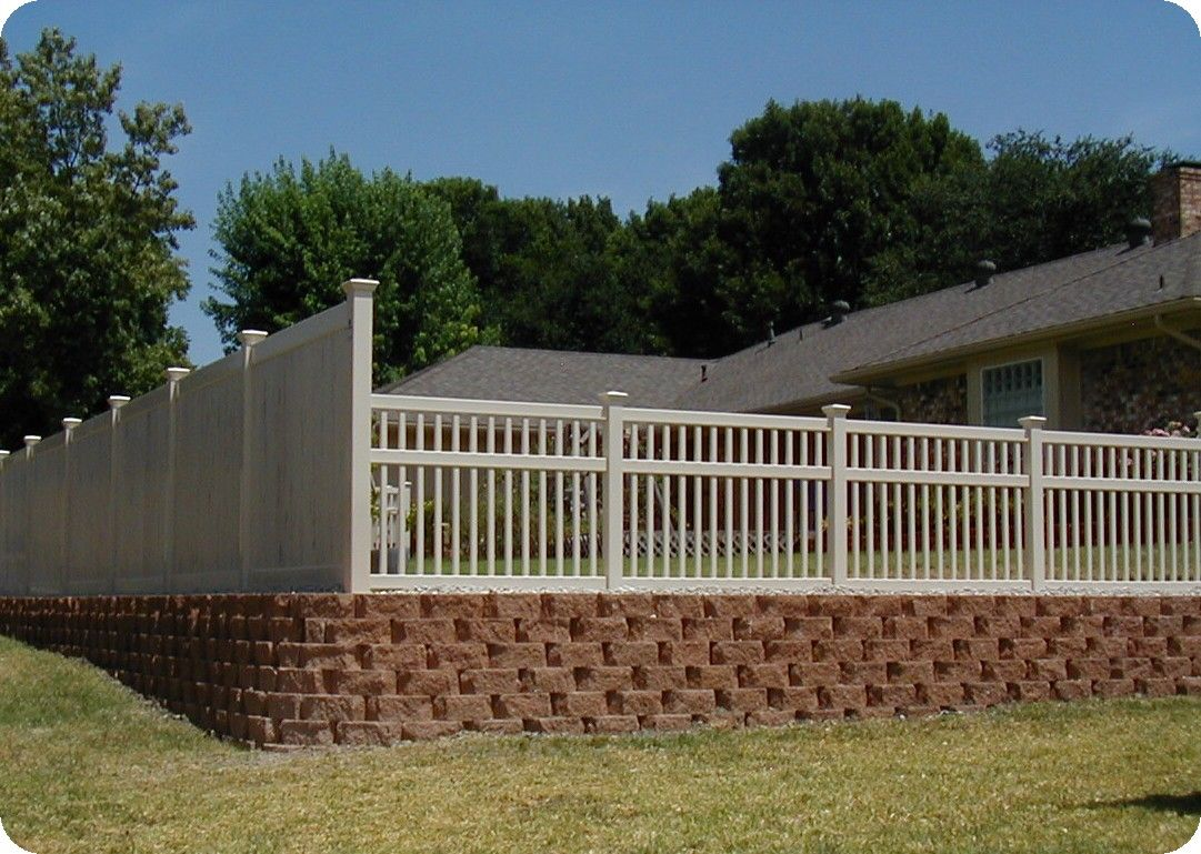 Vinyl Picket Fence Dallas And Retaining Wall Shade Structure Backyard Pergola Curb Appeal