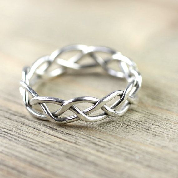 Wide Silver Braid Ring 7 mm Entwined for Eternity For him