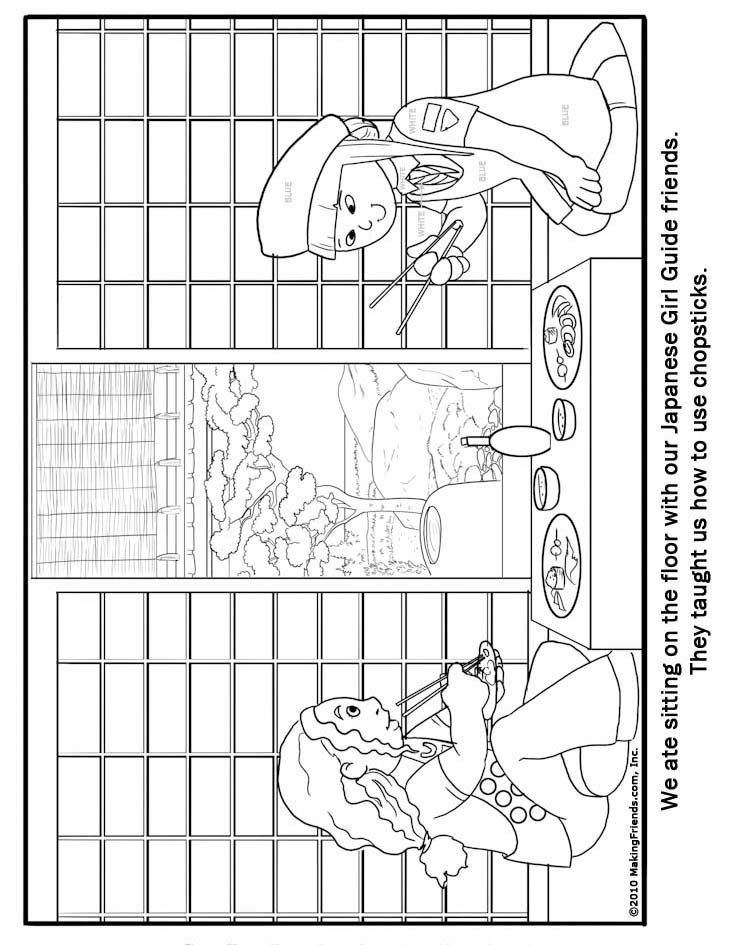 Japanese Girl Guide Coloring Page Girl Scouts Pinterest Girl