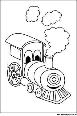 malbild zum ausdrucken - lokomotive mit gesicht