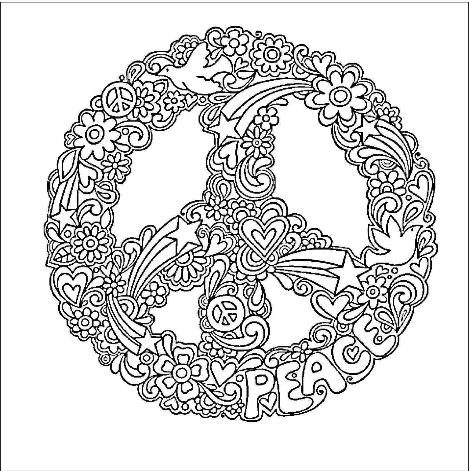 hippie coloring pages peace signs trippy coloring pages