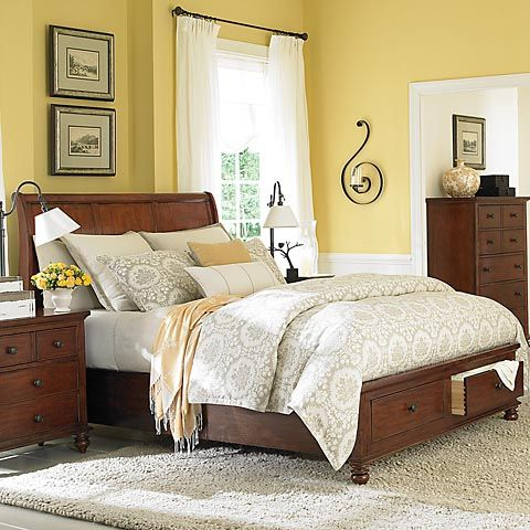 Like the yellow walls with dark wood furniture white trim touch of black master bedroom Master bedroom with yellow walls