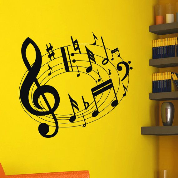 Vinyl Wall Decals Note Notes Waves Musical Sign Treble Clef Decal ...