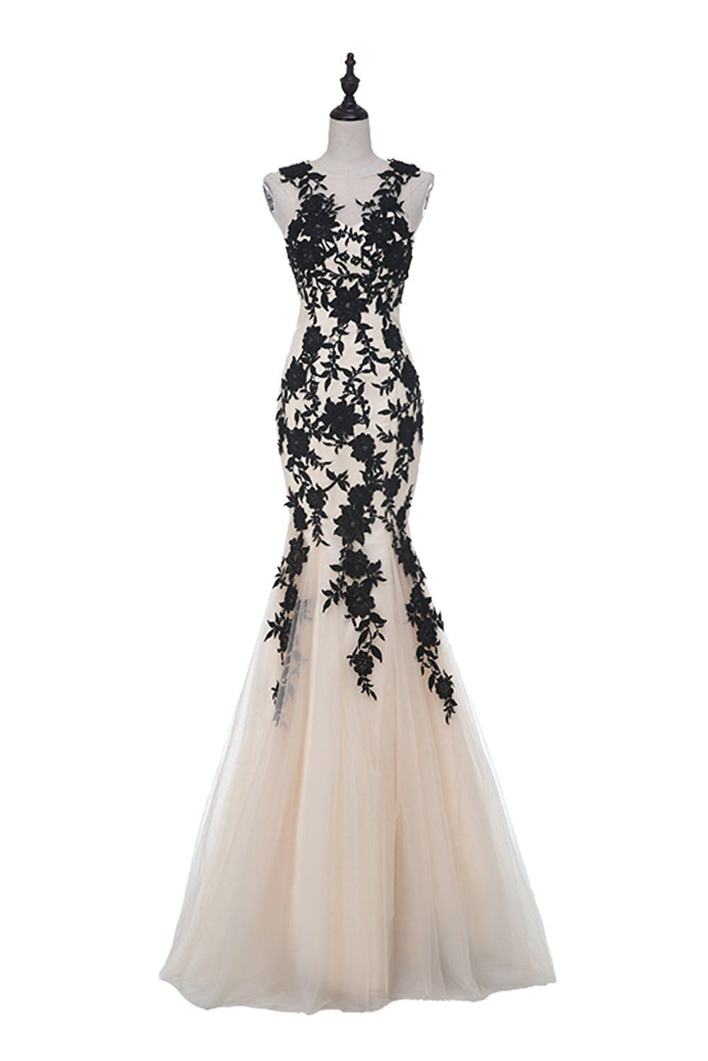 Champagne sleeveless mermaid appliques evening dressses champagne