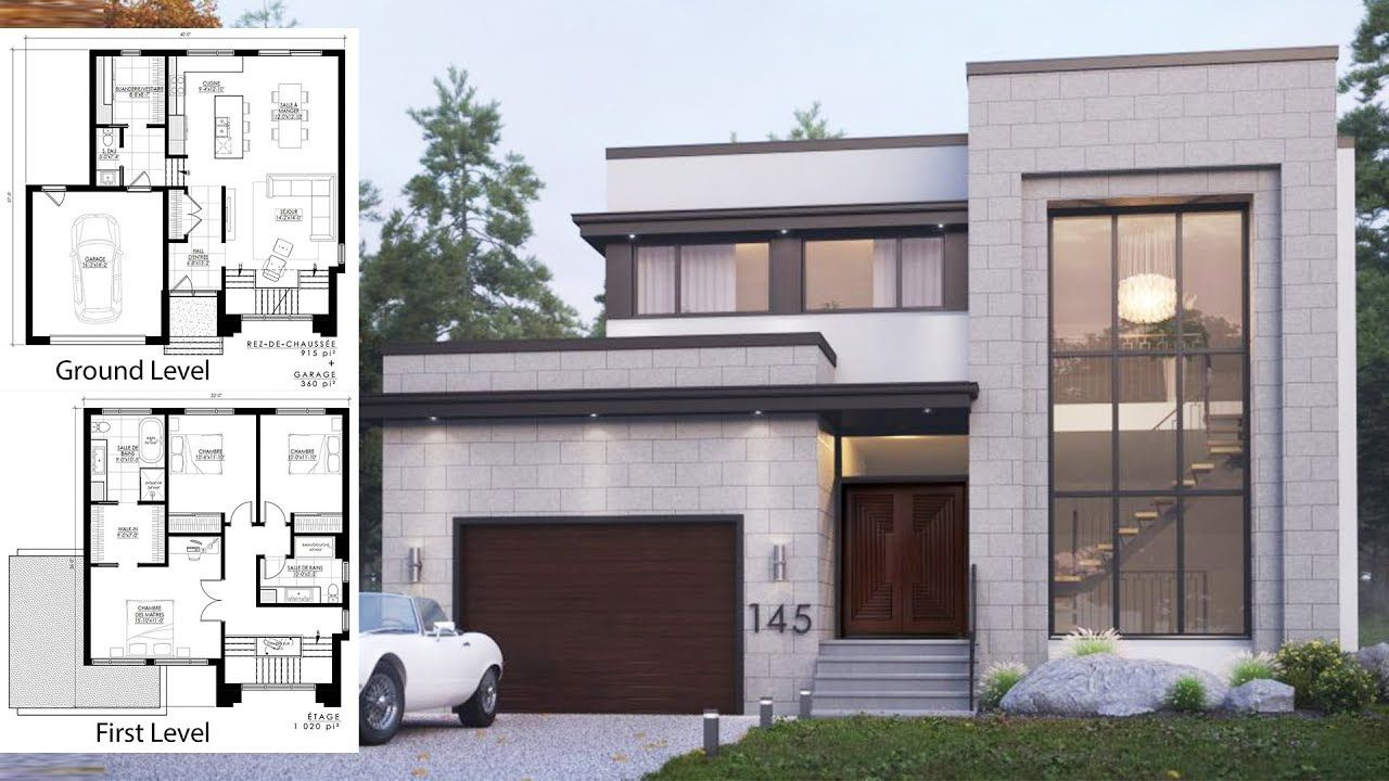 Modern House 40x37 Architectural Design Plan House Architecture Design House Blueprints Architecture House