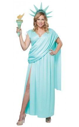 Disfraz De Estatua De La Libertad Para Mujer Talla Grande Disfraz De Talla Grande Estatua De La Libertad Fiesta De Disfraces