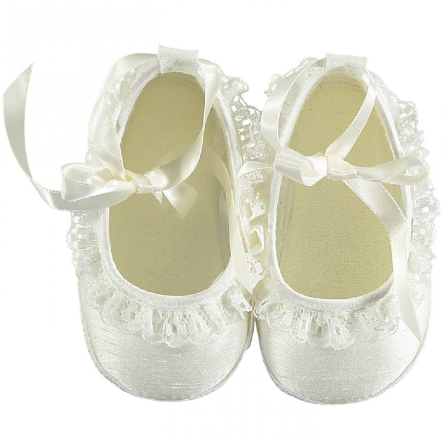 Sabrina Baby Girl Silk Shoe with Lace Ivory