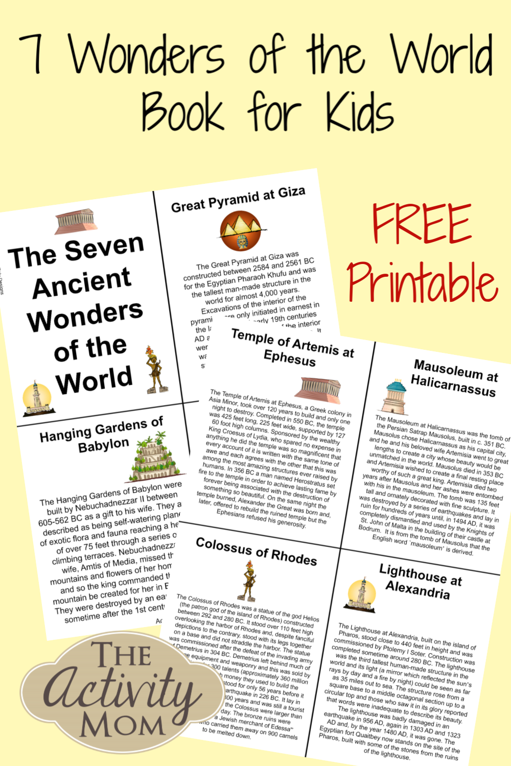 7 Wonders Of The World Book For Kids The Activity Mom Printable Activities For Kids Wonders Of The World Geography For Kids [ 1500 x 1000 Pixel ]