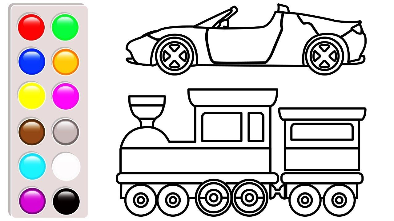 Car And Truck Coloring Book Learn Colors With Super Car And Train Color