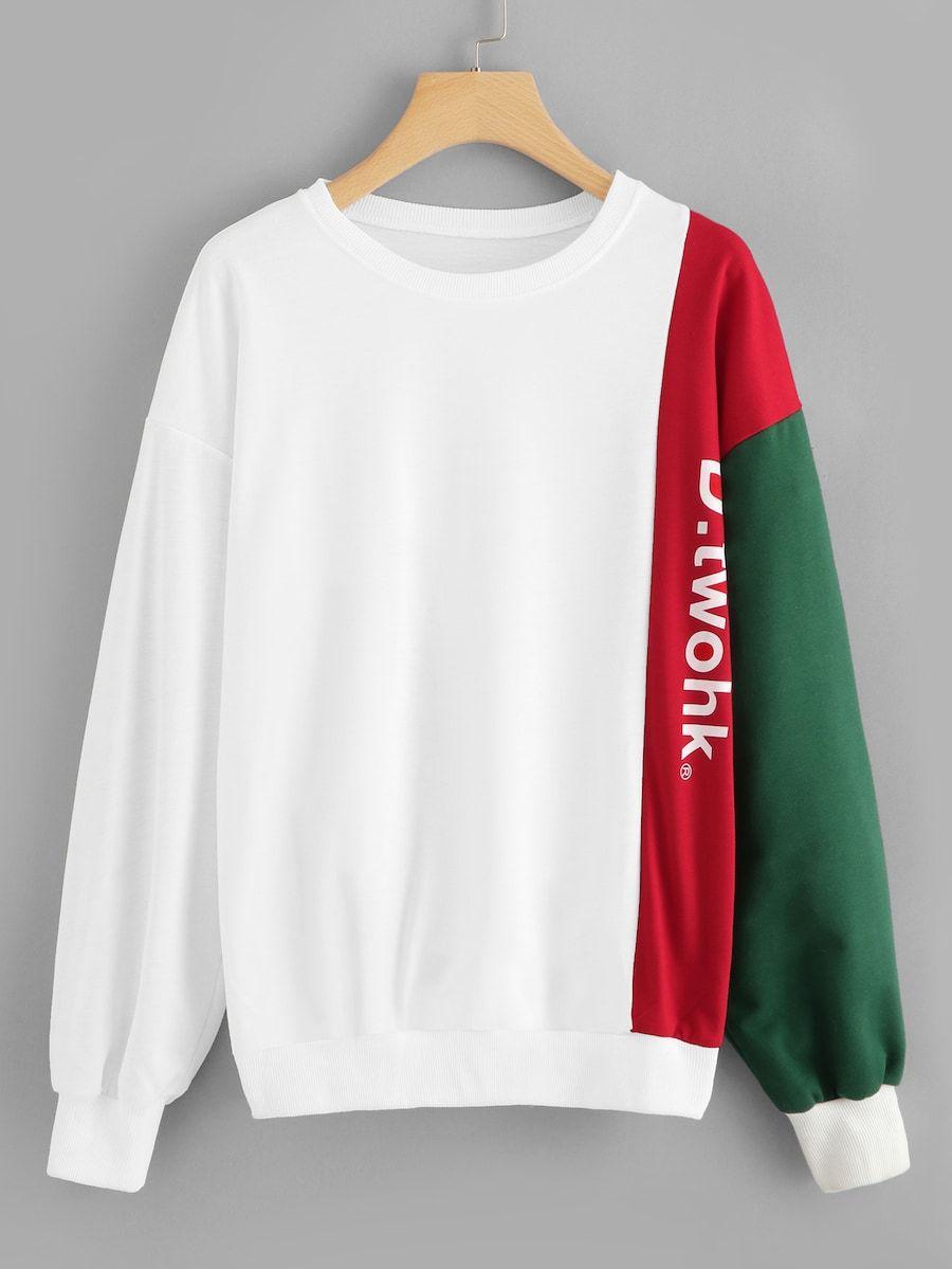 Drop Shoulder Letter Print Sweatshirt Shein Sheinside Trendy Hoodies Stylish Hoodies Mens Designer Shirts [ 1199 x 900 Pixel ]