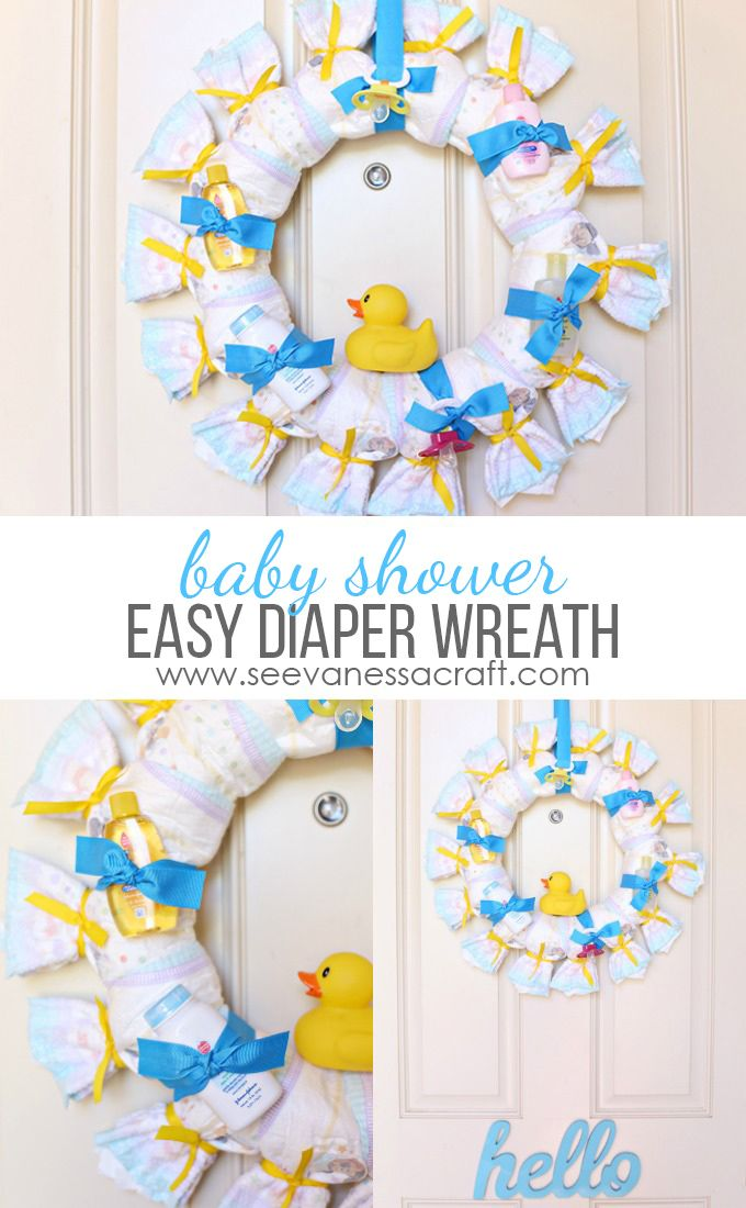 Craft baby shower diaper wreath pinterest diaper for Diaper crafts for baby shower