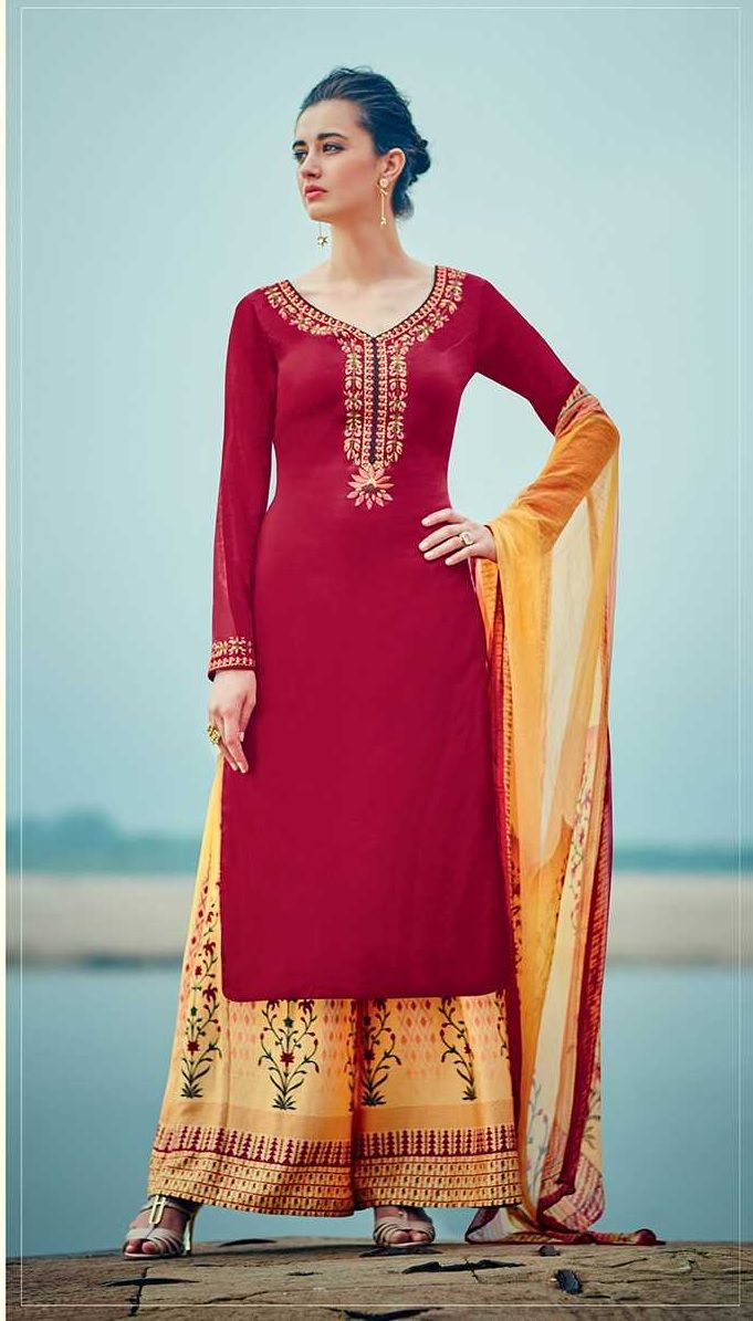 dabb62f561 Buy Red and yellow color cotton palazzo salwar kameez in UK, USA and ...