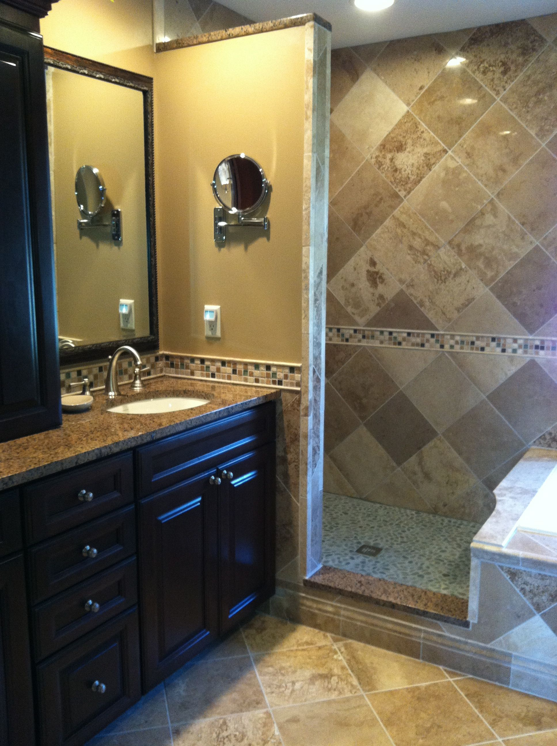 Travertine Diamonds Granite Countertops And River Rock Shower Floor Bathroom Renovations