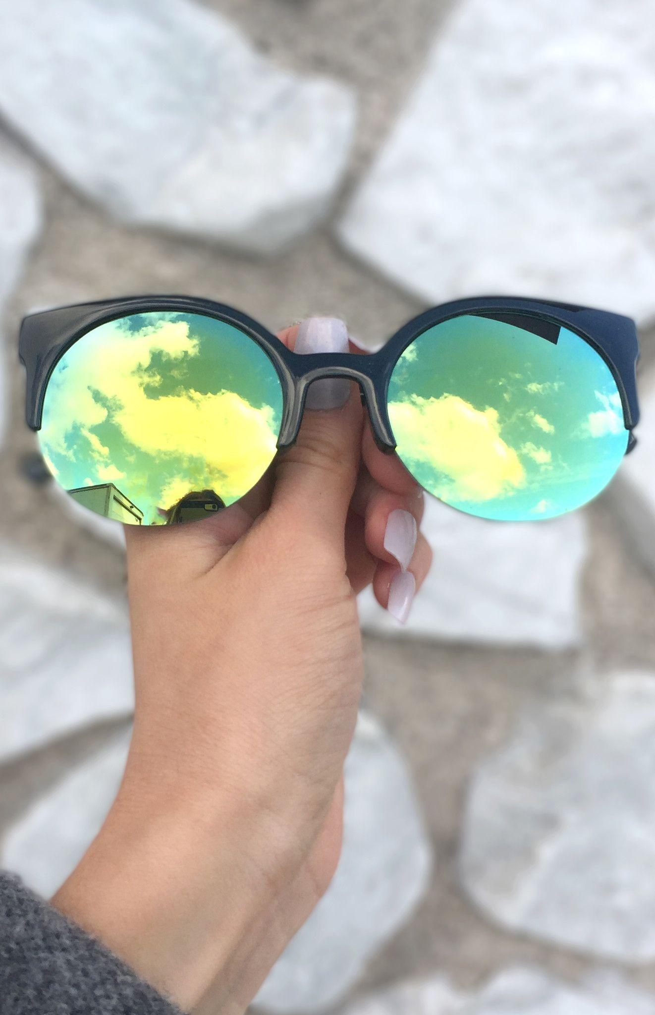eff217cc7 Retro round Sunnies - Black/ Green + Yellow (featuring transforming lens)