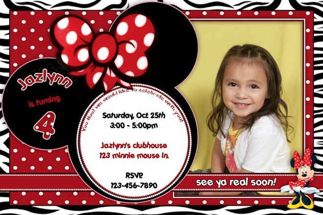 17 Best images about disney – Minnie Mouse Invitation Cards