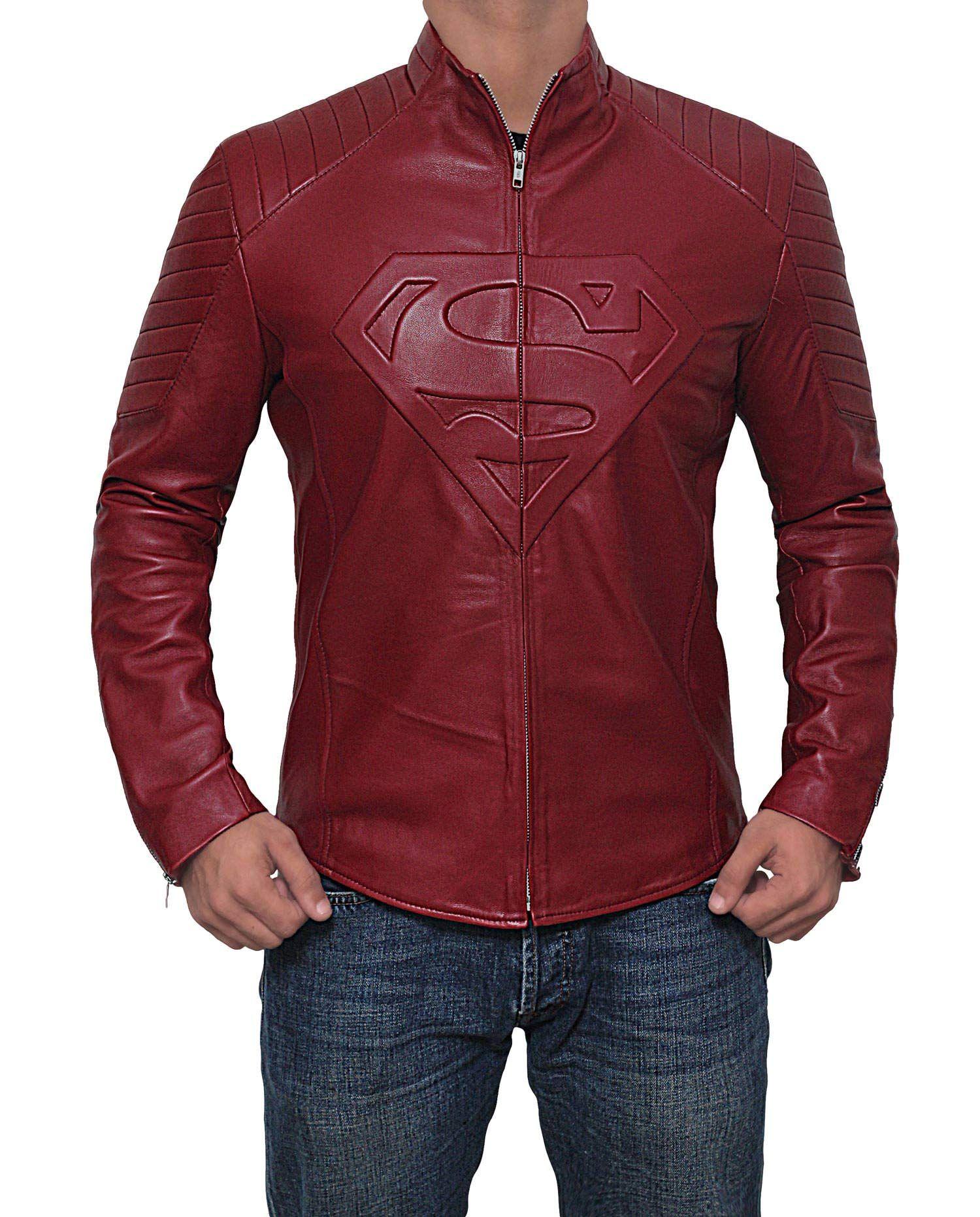 Superman Leather Jacket for Men Superhero Red Leather Logo