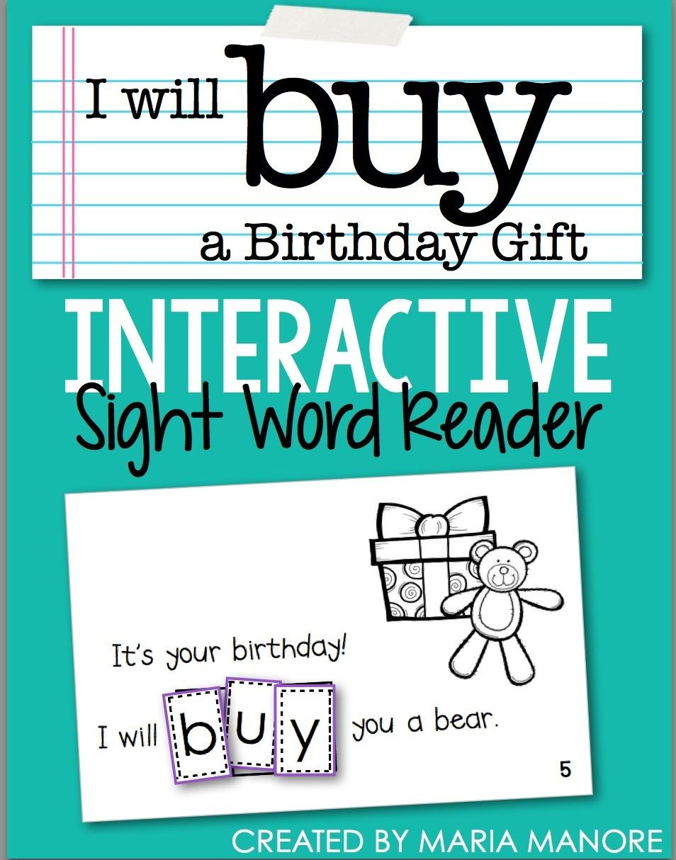 Free Birthday Themed Interactive Sight Word Reader Download | Sight ...