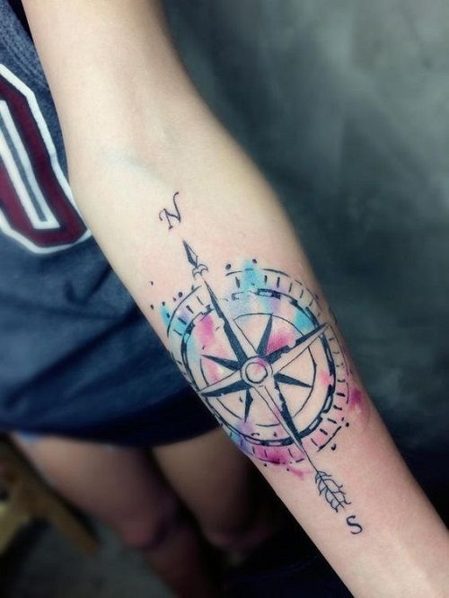 110 Best Compass Tattoo Designs Ideas And Images Piercings Models Watercolor Compass Tattoo Compass Tattoo Design Geometric Tattoo