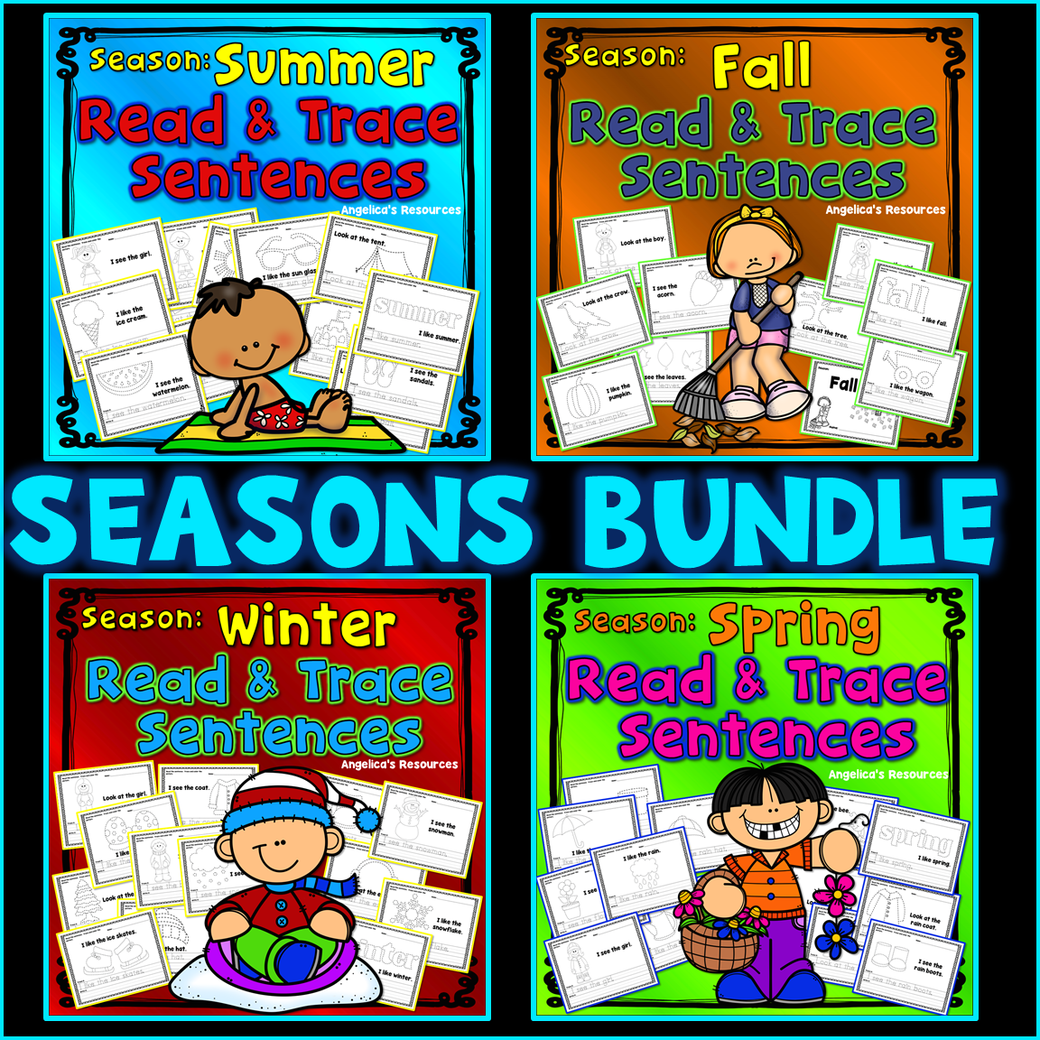 Seasons Tracing Bundle Handwriting Worksheets