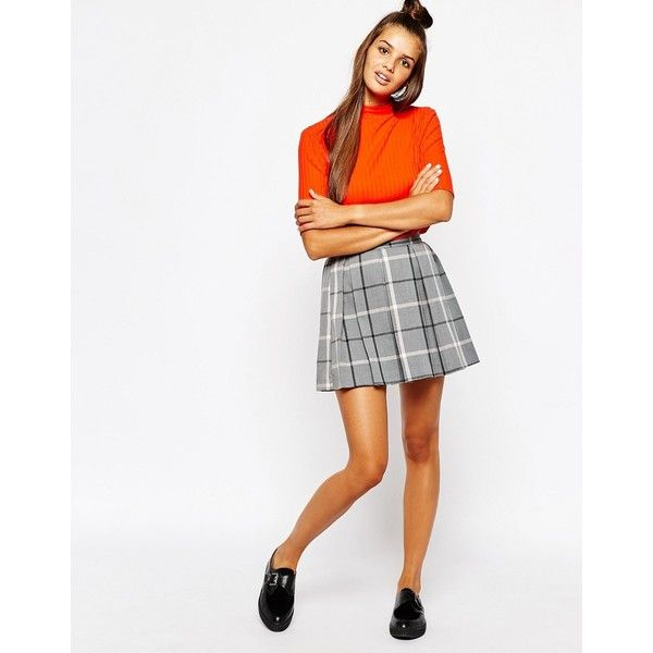 e2d200cc62 Monki Pleated Check Mini Skirt ($37) ❤ liked on Polyvore featuring skirts,  mini skirts, grey, grey pleated skirt, pleated skirt, box pleat skirt, ...