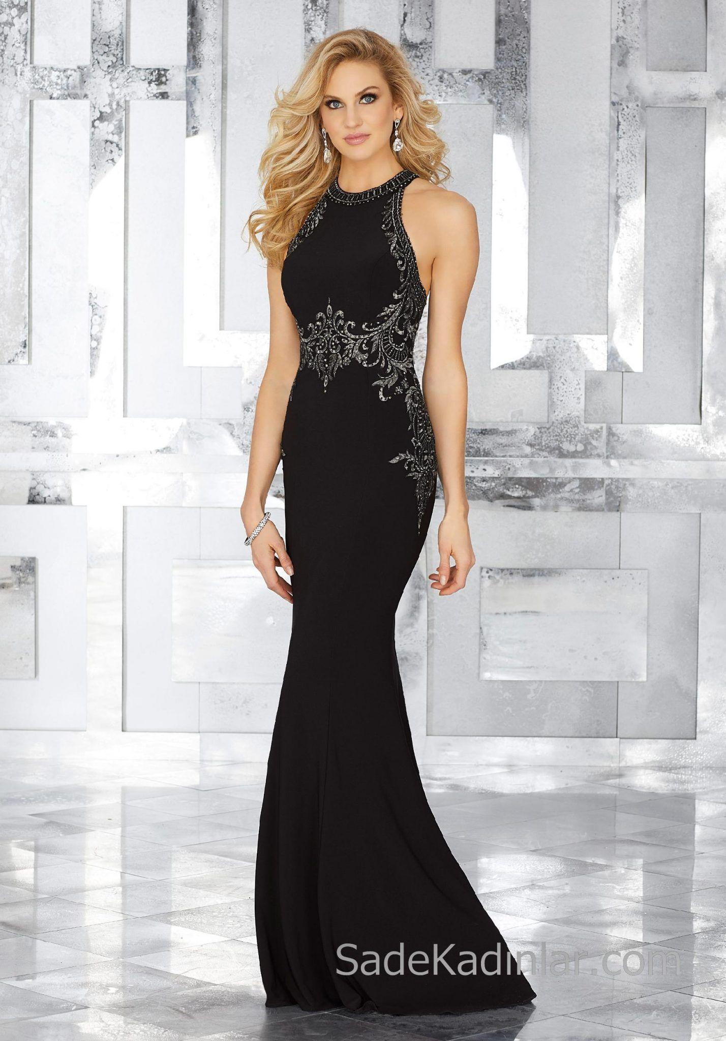 2018 Abendkleider Schwarz Lange Neckholder Stickerei Bestickt   – Abiye Elbise Modelleri