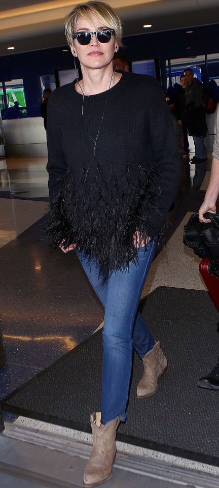 Sharon Stone arrives at LAX on Tuesday.