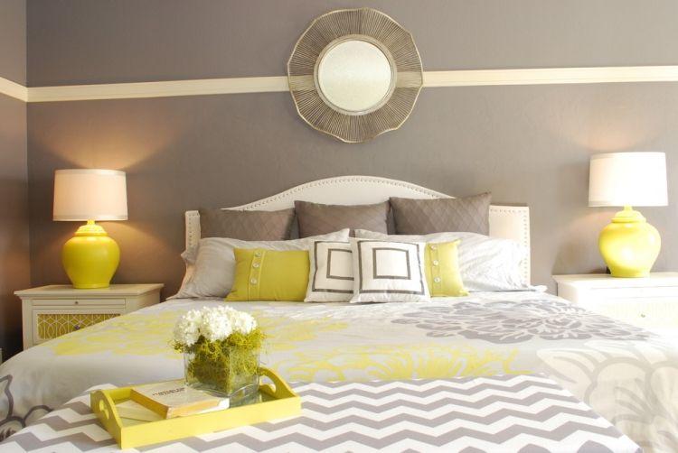 lovely schlafzimmer grau gelb #1: schlafzimmer-grau-gelb-weiss-schoen-kombinierte-farben