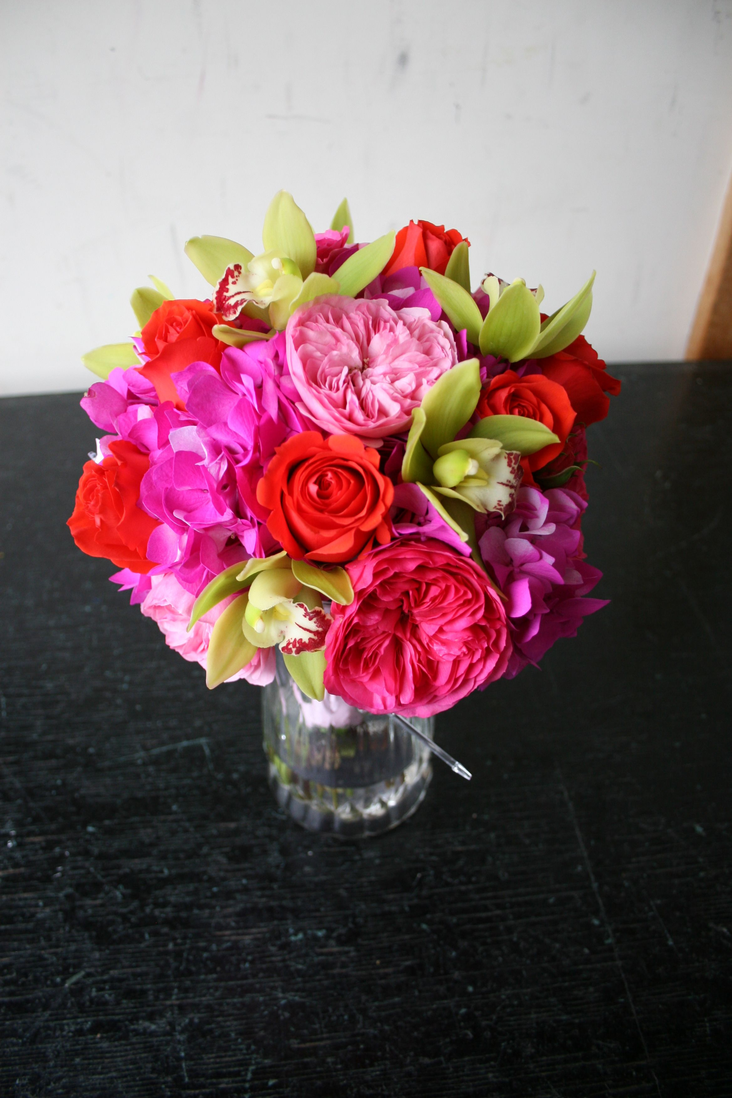 Pink Garden Rose And Hydrangea Bouquet bridal bouquet of hot pink garden roses, hot pink hydrangea, soft