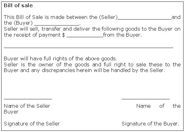 bill of sale receipt Bill Of Sale Form Template Sample - sample generic bill of sale