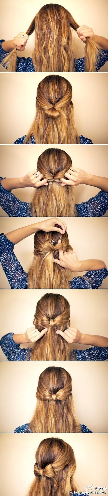 DIY hair bow...saw this on a little girl...so cute!