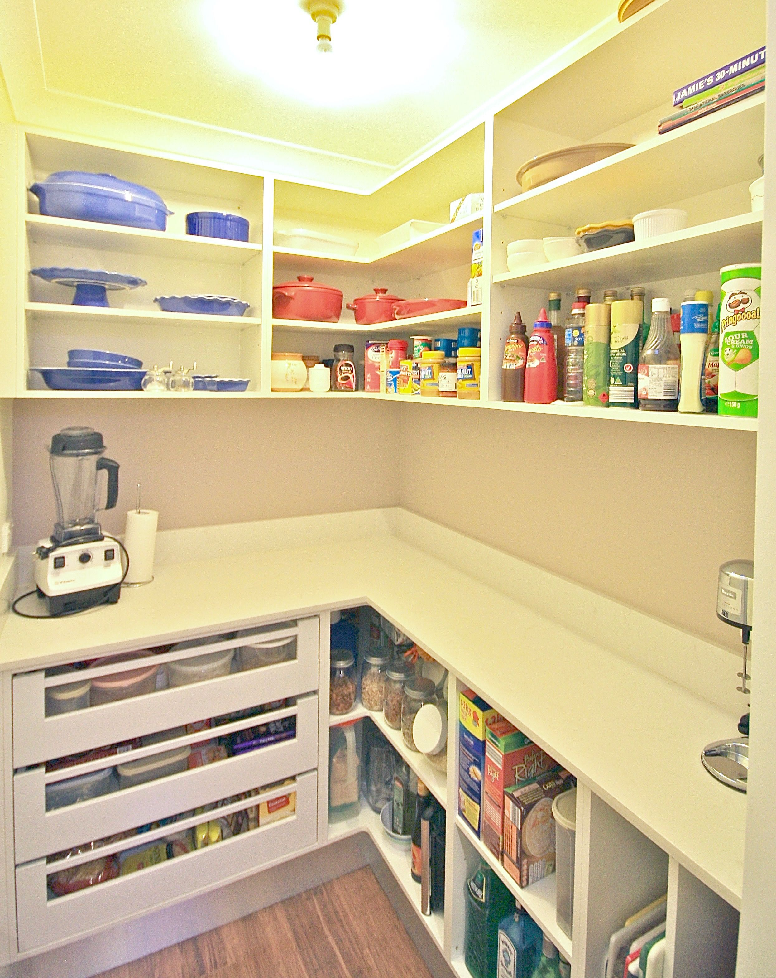 Walk In Pantry Open Shelving Large Drawers Bench Top