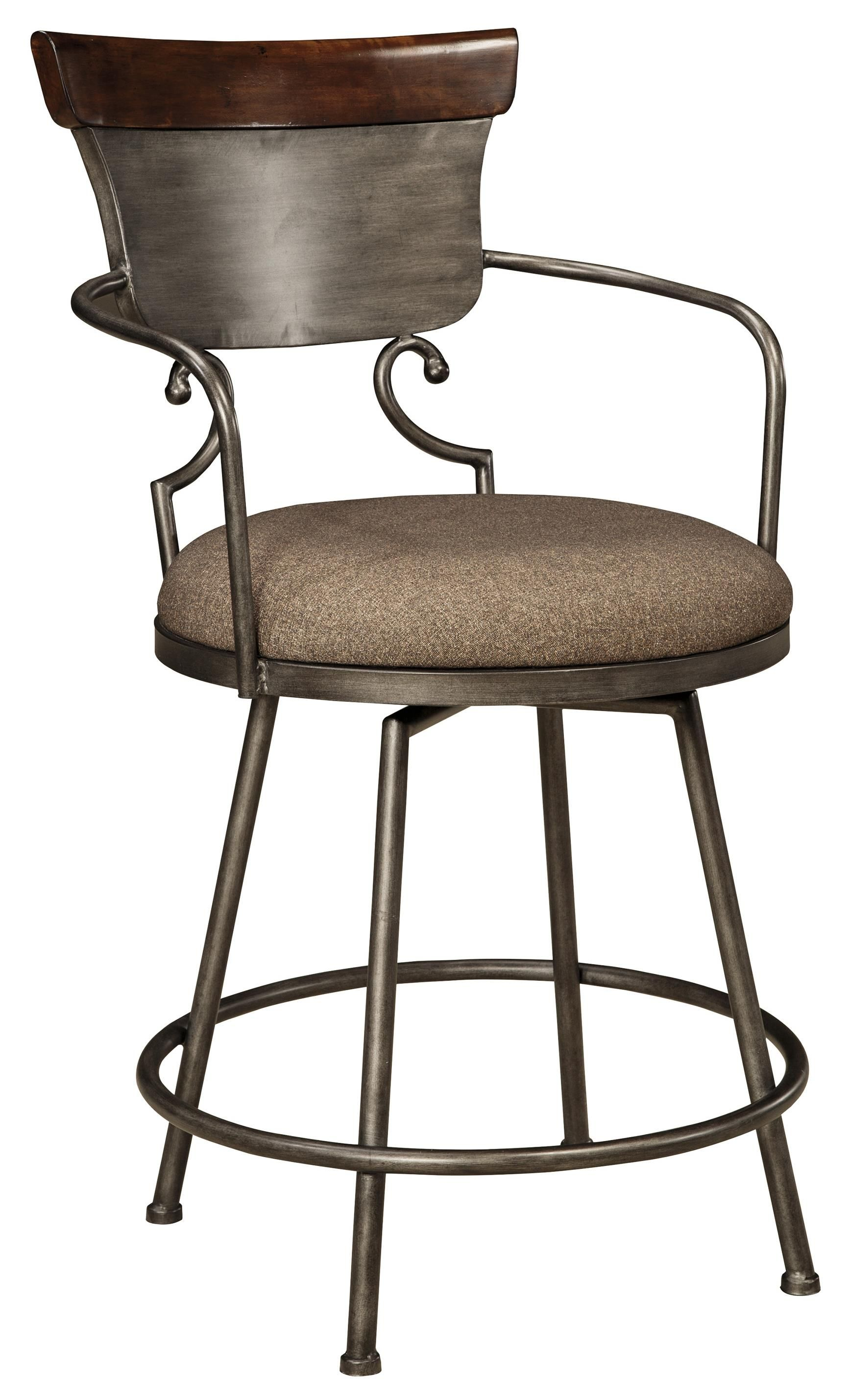 Moriann Upholstered Barstool With Metal Frame Swivel Seat By