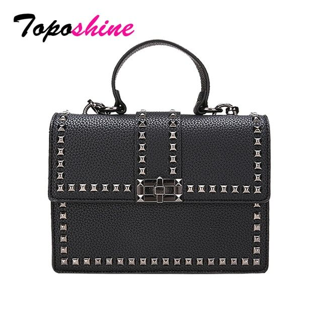 c3d99e88de Toposhine Rivets Women Shoulder Bag Black Cover Girls Handbag Square Rivets  Madam Ladies Bags Supporting Drop shipping Wholesale Review