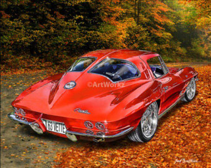 Black Diamond Z06 Corvette  – Sports Car Print – Muscle Car – 8×10 Giclee Print w/ 11 x 14 Mat